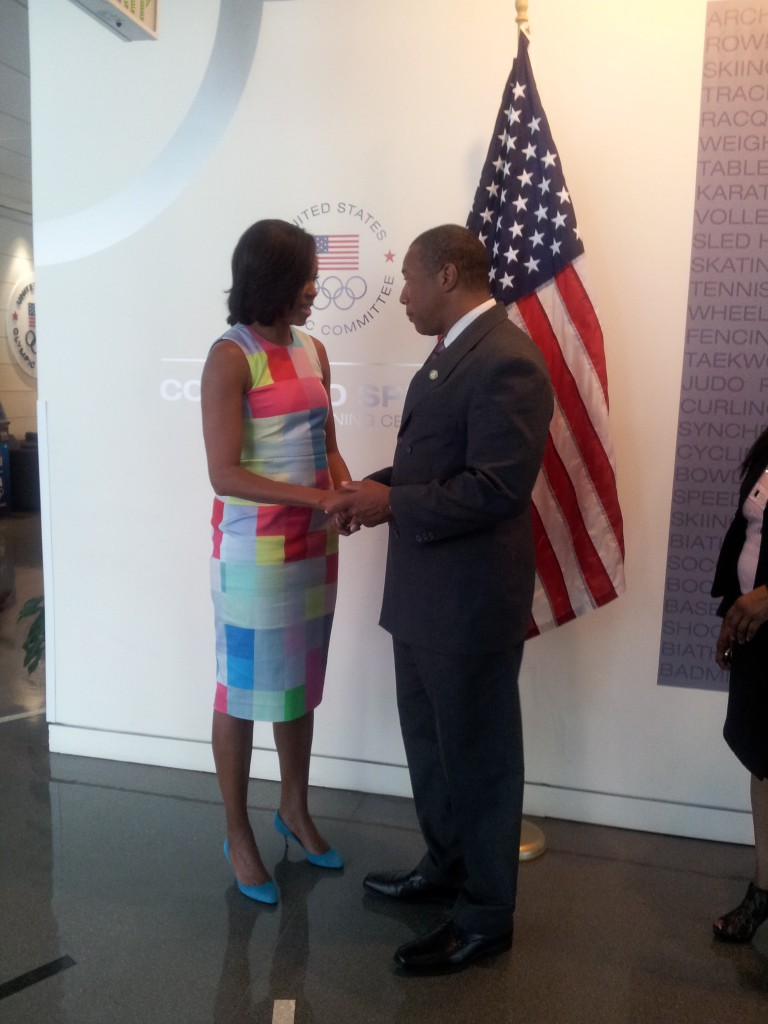 John Register and First Lady Michelle Obama