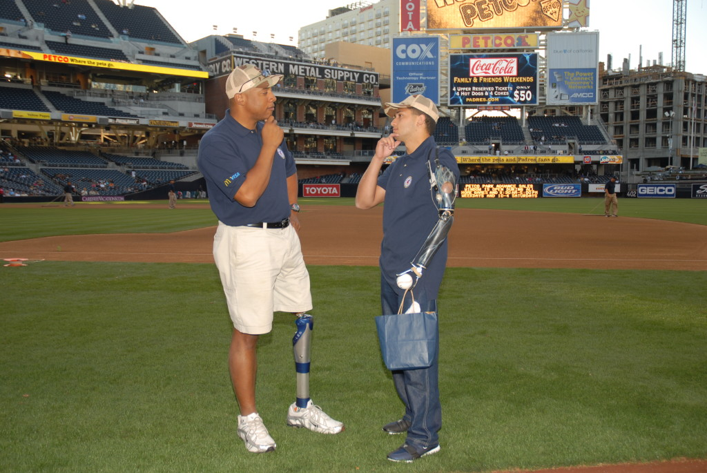John and injured vet at the Padres Game